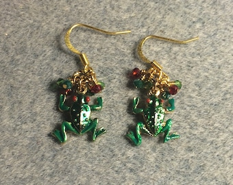 Green and red enamel frog charm earrings adorned with tiny green and red Chinese crystal beads.