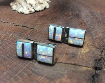 Synthetic Opal Stud Earrings