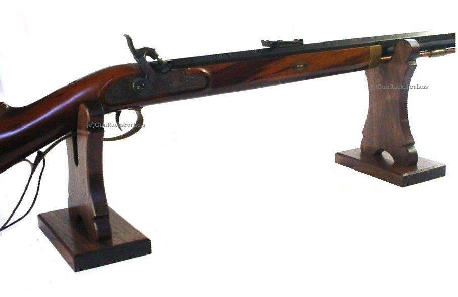 Oak Gun Rack Stand Table Top Mantel Display Rifle Shotgun