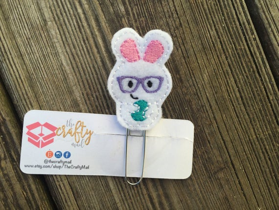 Nerdy Bunny Clip/Planner Clip/Bookmark. Easter planner clip. Spring planner clip