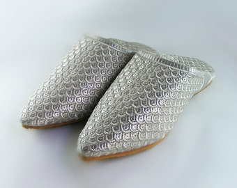 Slipper, embroidered in silver thread, shoes or slippers size from 36 to 41 for wedding / evening / Moroccan ceremony