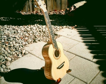 Handmade tenor ukulele.  Quilted maple and Sitka Spruce