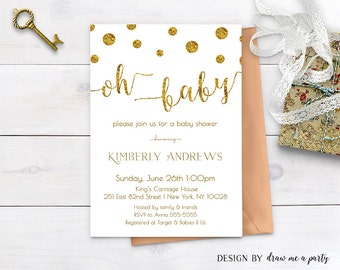 GOLD BABY SHOWER Oh Baby Invitation , Gold and White Baby Shower Invitation, Polk Dots , Gold Glitter Baby Shower Invite , Printable