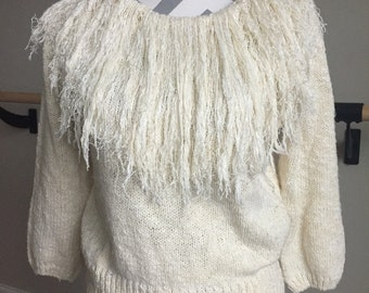 Vintage 1970's Off-White Fringe Sweater