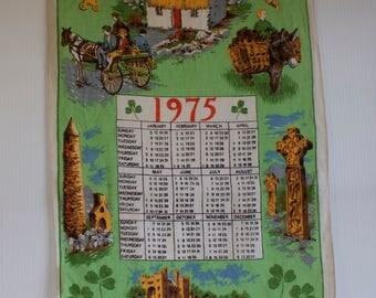 Vintage Tea Towel Calendar  - 1975 Kitchen Towel - Made in Ireland - St. Patrick's Day Decor