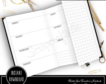 Horizontal Week On Two Pages Pocket Size with Grid Tip-In on Left or Right Traveler's Notebook Printable Planner Inserts Undated