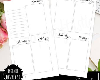 Planner Printable Insert Refill Undated WO2P Personal Size Oversized Full Boxes Horizontal Days (00221)