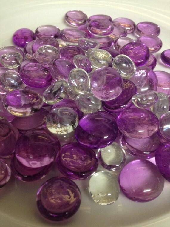 50pc Flat Glass Gems 14 19mm Purple Clear Vase Fillers