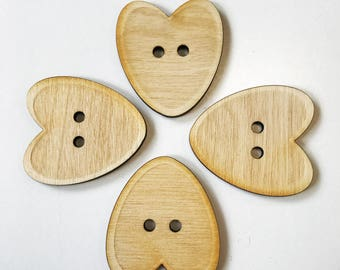 Large Heart Button.  40mm buttons.  Sewing Scrap Craft. Birch Wood Buttons.  Extra large button.  A068