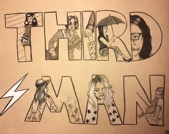 "Thirdman Records 9""x12"" drawing"