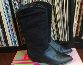 Women's Vintage Classic Leather and Suede Black Boots Size 7- Excellent Condition!