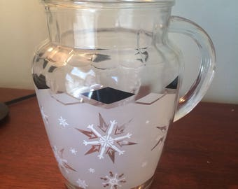 Vintage Anchor Hocking Snowflake beverage pitcher