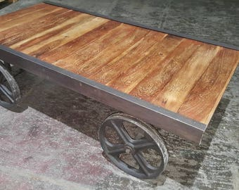 Industrial cart style coffee table