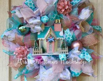 Shabby chic Christmas wreath, pink Christmas wreath, deco mesh wreath, Victorian Christmas, Christmas village wreath
