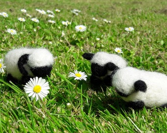 Needle felted black-faced sheep pair