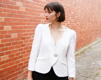 Vintage ARMANI White  Daisy Textured Jacket / Made in Italy / Armani Blazer / White Jacket / M