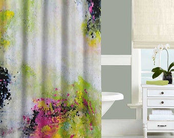 Abstract Shower Curtain Art White Black Green Yellow Pink Bathroom Decor