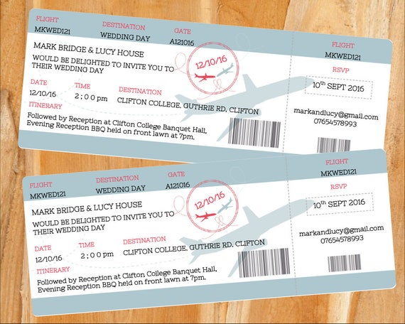 printable boarding pass wedding invitation download