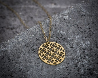 Coin necklace, circle necklace, geometric necklace, gift under 50, goldfilled necklace,14K gold, celtic necklace, everyday necklace.