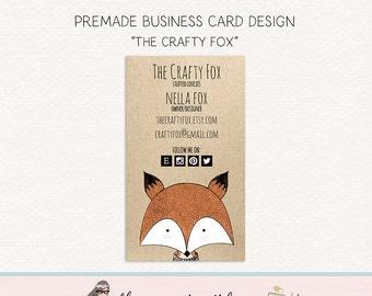 fox business card calling card social card mommy card thank you card hang tag card premade card business card design fox logo design