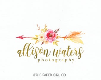 arrow logo boho logo boho chic logo tribal logo watercolor logo photography logo event planner logo wedding planner logo premade logo design
