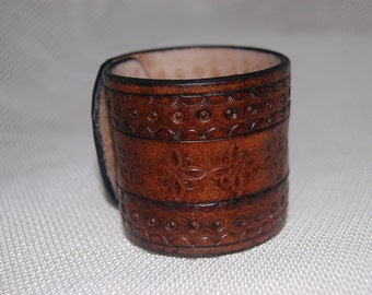 Leather cuff.Leather bracelet. handmade.hand tooled. 100% leather
