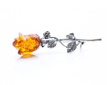 Rose Brooch, Amber Rose Brooch, Silver Rose Brooch, Amber & Silver Pin, Amber Pin, Rose Pin, Flower pin, flower brooch, baltic amber jewelry