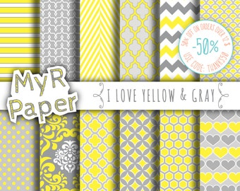 """Digital paper: """"I LOVE YELLOW & GRAY"""" pack of backgrounds with chevron, polka dots, dots, damask, quatrefoil, hearts in yellow and grey"""