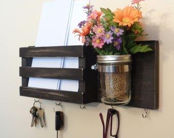 Mail Holder - Key Holder - Mail Organizer - 5 Hooks - Distressed Dark Espresso - Mason Jar - Hangers Installed - Ready To Hang