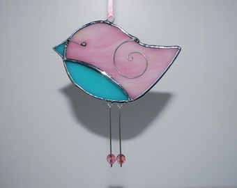 Fun Pink Turquoise Stained Glass Bird - 3D Stained Glass Ornament - Christmas Decoration Home Decor Suncatcher 3Dimensional Wire Wings