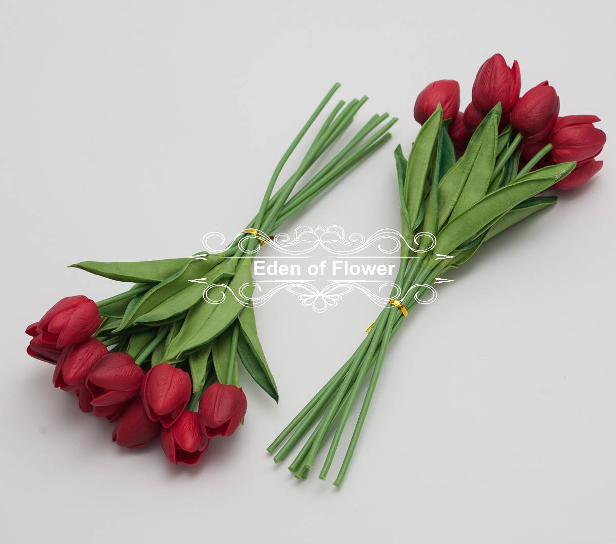 Real touch red tulip bouquets for bridal wedding
