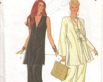 90s Style Sewing Pattern 2384 Jacket V Neckline Flared Pants Size 12