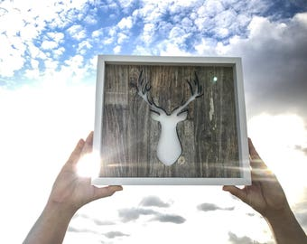 Rustic Lasercut Wood Deer Sign