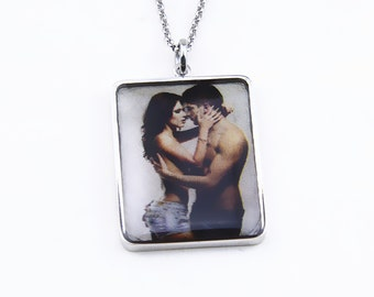 Silver Photo Necklace,Personalized Photo Necklace,Custom Picture Necklace,Engraved Picture Necklace,Photo Jewelry,Memorial Necklace
