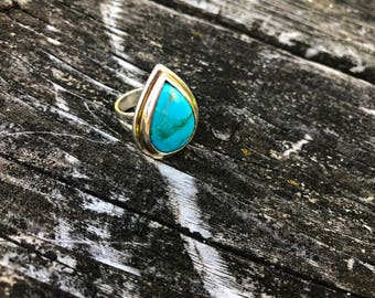 Beautiful Sleeping Beauty Turquoise . Sterling Silver Ring . Arizona Turquoise . Pear .Natural Turquoise