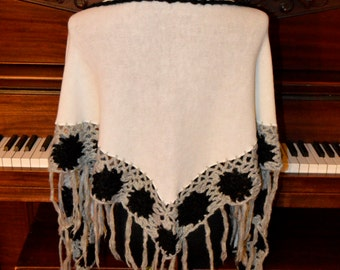 White knitted whit crocheted flowers and fringes shawl scarf wrap, boho shawl, bohemian