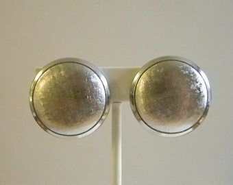 Large Brushed Silver Tone Round Button Clip Earrings