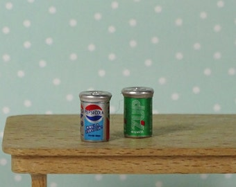 Doll house vintage soda cans 1980s Pepsi 7-Up