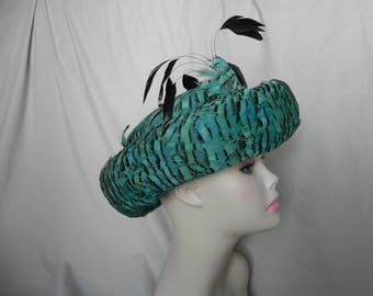 1960's or 1970's Jack McConnell Teal Turquoise Feathered Bowler Hat