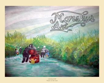 Vespa scooter painting art print flooded roads in the lake district scooter gift by marshys art