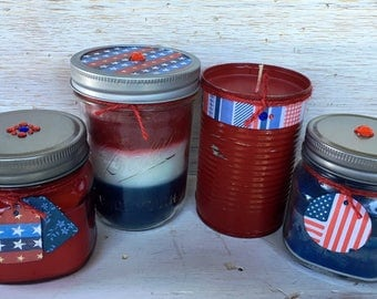 Recycled Wax Patriotic Candle Set