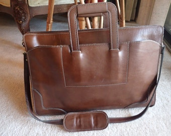 Reem Leather Brown Leather Double Gusseted Briefcase Retractable Handles USA