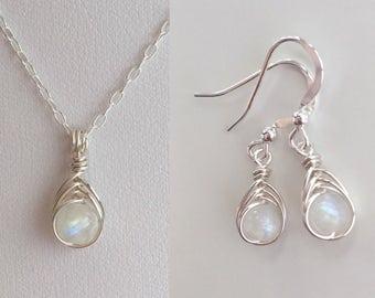 Moonstone necklace and earrings set, birthday gift for her, rainbow moonstone earrings, girlfriend, sister gift, best friend, birthstone