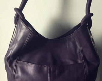 Real leather shoulder tote bag So stylish and elegant with oval side holes and double straps Unique handbag tote real leather shoulder bag