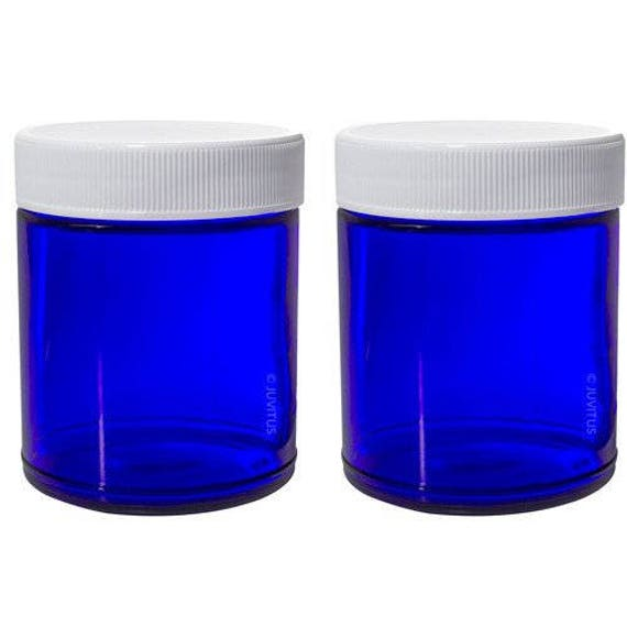 Cobalt Blue Glass Straight Sided Jars 9 Oz 2 Pack