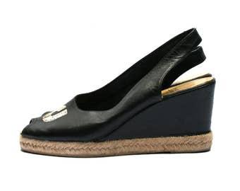CHARLES JOURDAN 70s platform espadrilles, Black leather open toe sandals, Embroidery CJ, Size fr 36 / uk 3.5 / us 5