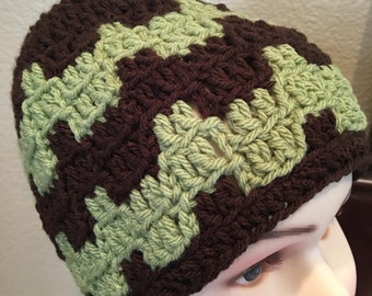 Men and woman,  brown and green beanie hat