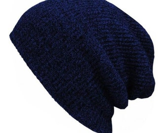 Slouchy Beanie - Stretchy - Knitted - BLUE - Hat