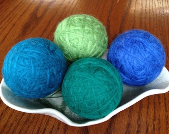 Felted Wool Dryer Balls, Set of 4 - Bright Green, Emerald Green, Royal Blue and Teal