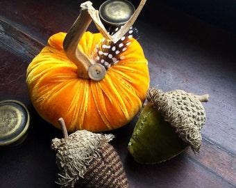 Velvet Fairy Pumpkin and Acorn Trio